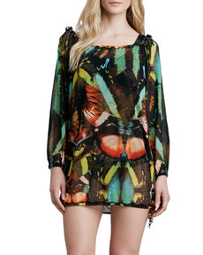 Jean Paul Gaultier Butterfly-Print Coverup Tunic