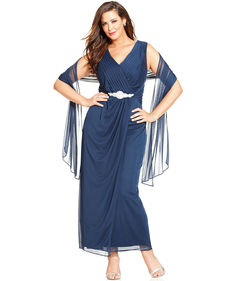 Alex Evenings Plus Size Embellished Faux-Wrap Gown and Shawl