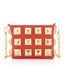 Betsey Johnson Stud Muffin Crossbody Bag, Guava