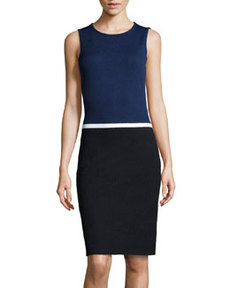 St. John Colorblock Mixed Knit Dress, Ink/Onyx/White