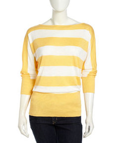 Lafayette 148 New York Striped Bateau-Neck Sweater, Citrus