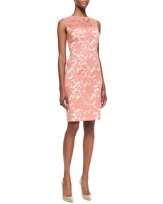 Kay Unger New York Sleeveless Floral Lace Sheath Dress