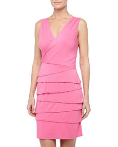 Laundry by Shelli Segal Tiered-Skirt Surplice Dress, Neon Pink