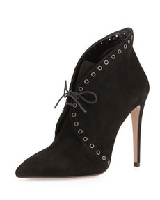 Eyelet Suede Lace-Up Bootie, Black   Eyelet Suede Lace-Up Bootie, Black