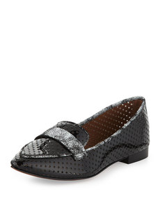 Donald J Pliner Ava Perforated Patent Loafer, Black