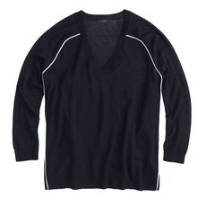 Merino tipped side-panel V-neck sweater