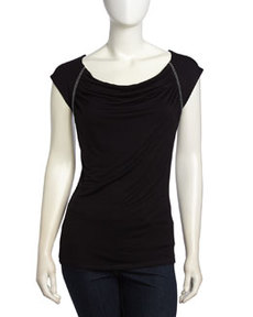 Laundry by Shelli Segal Bead Embellished Draped Top, Black