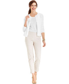 Charter Club Straight-Leg Slim-It-Up Side-Zip Printed Pants