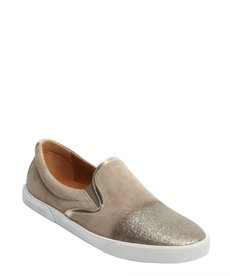 Jimmy Choo taupe suede glitter cap toe slip on loafers