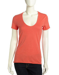 James Perse Scoop-Neck Soft Jersey Tee, Sunfire