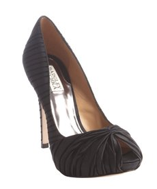 Badgley Mischka black satin and velvet ribbed 'Rybe' peep toe pumps