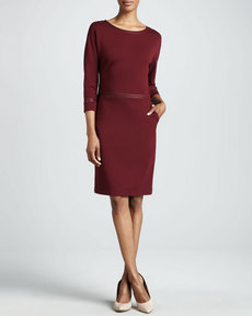 Lafayette 148 New York Three-Quarter-Sleeve Leather-Trim Dress