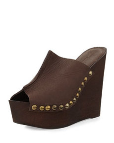 Charles David Recchia Leather Woodgrain Sandal Wedge, Brown