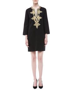 Michael Kors Embroidered Crepe Tunic Dress