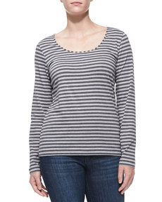 Escada Striped Long-Sleeve Top
