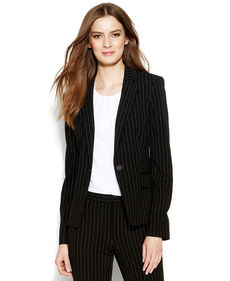 Calvin Klein Petite Single-Button Pinstriped Blazer