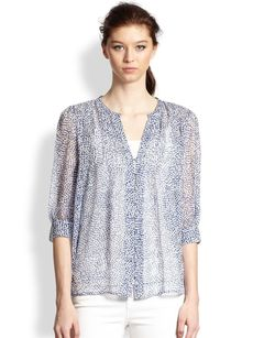 Joie Laurel Silk Chiffon Printed Pintuck Blouse