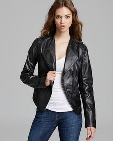 Laundry by Shelli Segal Asymmetric Leather Mixed Media Jacket