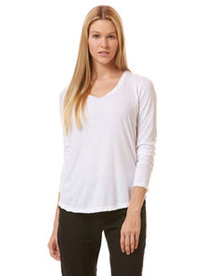long sleeve raw edge layering tee