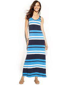 INC International Concepts Petite Sleeveless Striped Maxi Dress