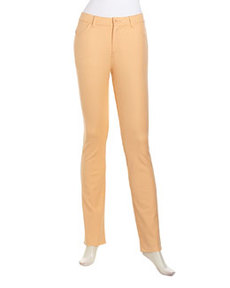 Lafayette 148 New York Slim-Fit Stretch Denim Pants, Apricot