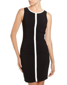 Tracy Reese Ruched Two-Tone Crisscross Dress