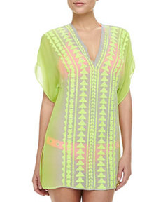 Gaudas Embroidered Short-Sleeve Tunic Coverup   Gaudas Embroidered Short-Sleeve Tunic Coverup