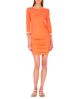 Shirred-Hem Coverup Dress   Shirred-Hem Coverup Dress