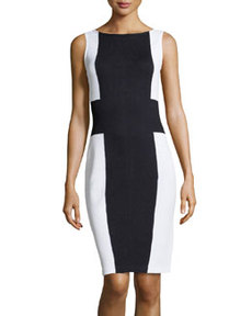 St. John Colorblock Knit Sheath Dress, Onyx/White