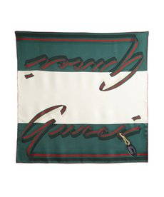 Gucci green web stripe and logo silk scarf