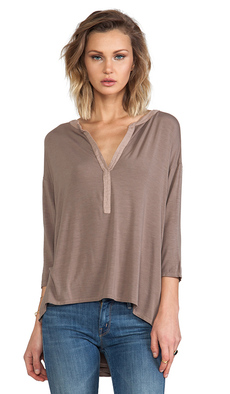 Michael Stars 3/4 High Low Split Neck Tee in Taupe