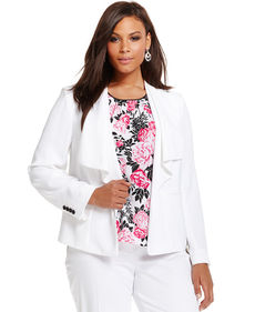 Jones New York Collection Plus Size Draped-Front Blazer