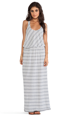 Michael Stars Sleeveless Racer Back Maxi Dress in Gray