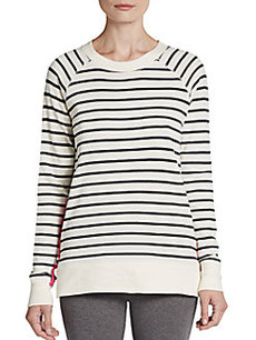 MARC NEW YORK by ANDREW MARC Performance Striped Zipper-Detailed Pullover