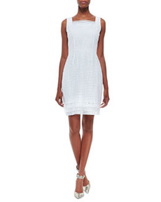 Erin Sleeveless Eyelet Sheath Dress, White   Erin Sleeveless Eyelet Sheath Dress, White