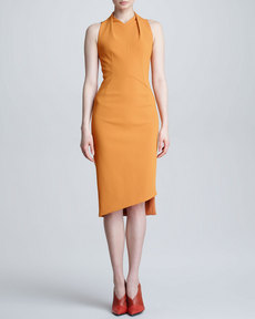 Narciso Rodriguez Sleeveless Crepe Dress, Tangerine