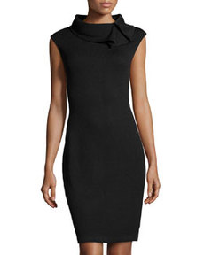 St. John Ruffle-Collar Knit Dress, Onyx