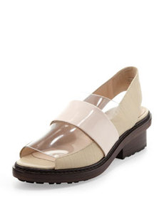 Darwin Peep-Toe Slingback Loafer, Birch/Powder   Darwin Peep-Toe Slingback Loafer, Birch/Powder