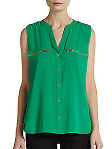 Calvin Klein Sleeveless Zip-Pocket Blouse