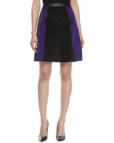 Jason Wu Colorblock Suede A-line Skirt, Violet/Black