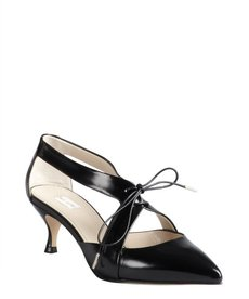 Marc Jacobs black leather lace up cutout pointed toe kitten heels