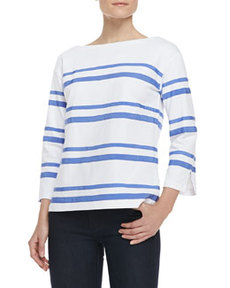 Kendall Cotton Ribbon-Stripe Top   Kendall Cotton Ribbon-Stripe Top