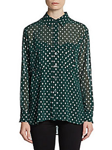 Ellen Tracy Georgette Print Long Shirt