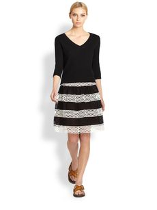 Marc Jacobs Laser-Cut Stripe Skirt