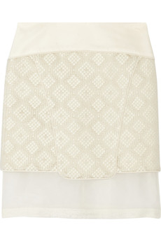 Tibi Silk-crepe, organza and jacquard skirt