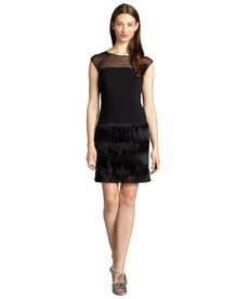 Andrew Marc black chiffon sheer yoke drop hip dress