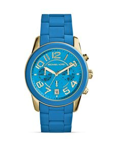 Michael Kors Blue Silicone and Gold Tone Mercer Watch, 41.5mm