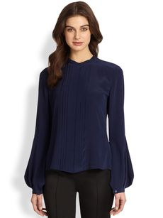 Saks Fifth Avenue Collection Silk Pleat Front Shirt