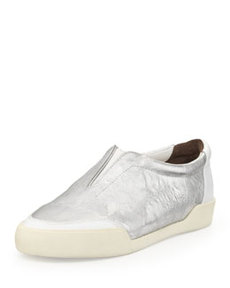 Morgan Metallic Slip-On Sneaker, Silver/White   Morgan Metallic Slip-On Sneaker, Silver/White