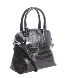 Furla onyx snake embossed leather small top handle tote bag